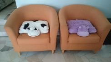 2 Excellent Modern Single Seater Orange Sofa