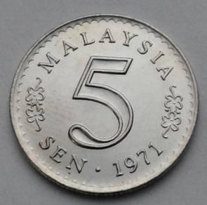 Malaysia 5 Sen 1971. KM#2. Five Cents coin