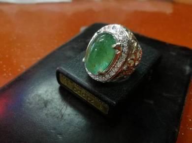 Cincin Perak Zamrud Zambia Tua