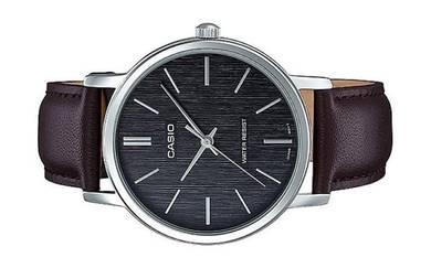 Casio Men Leather Wood Dial Watch MTP-E145L-1ADF