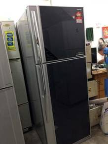 Black Fridge Toshiba Refrigerator Peti Sejuk Ais