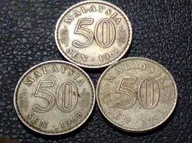 1967,1968,1969 MALAYSIA 50sen (VF) set#B