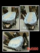 Wood table set 8pax (with glass table top)