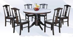4 FT Round Marble Dining Set 1+6
