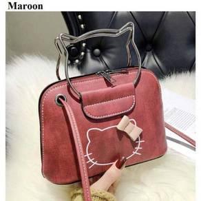 Kitty ribbon sling bag maroon 2