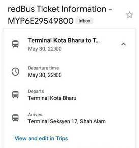 Tiket bas KB - Shah Alam 30/5/20