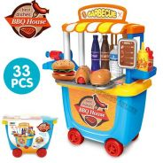 BBQ Toy-33pcs BBQ Burger House Moveable Wheel Case