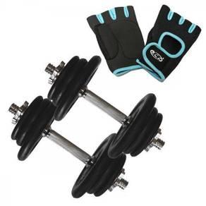 RCL 20kg (10KG X 2) Rubber-Coated Dumbbell +Gloves