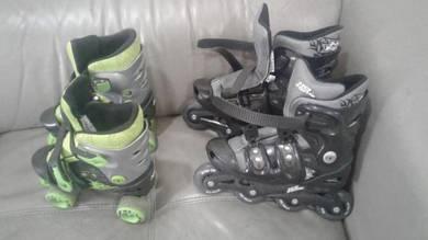 Skating shoes, skate protection pack, helmet