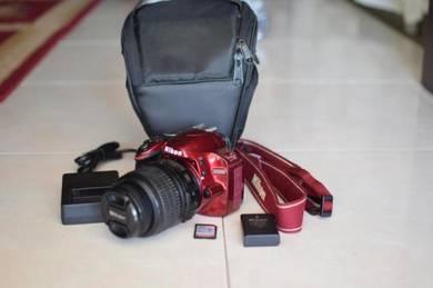 Kamera nikon dslr D3200 complete set (red)