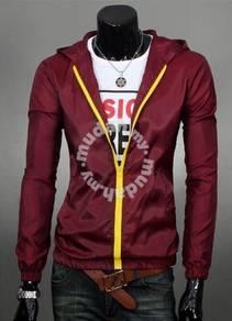Classic Junior Hooded Sweater Jacket (Dark Red)
