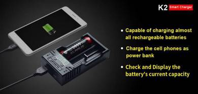 Klarus K2 with USB Output Smart Charger for 18650