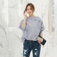 Loose striped blue blouse