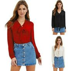 Chiffon blouse V-neck