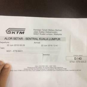 Ticket ETS dari Alor Setar - KL sentral