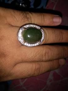 Cincin permata lumut hijau dareh asli