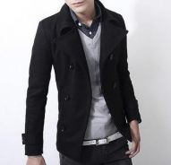 363 Black Winter Double Breasted Coat Suit Jacket