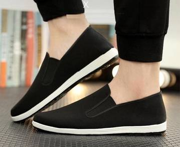J0268 Black Canvas Slip Ons Casual Loafers Shoes