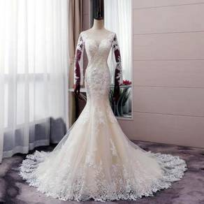 White long sleeve wedding dress gown RB0950