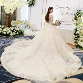 White cream long sleeve wedding dress gown RB0956