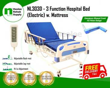 3 Crank Electric Hospital Bed + Emergency Crank