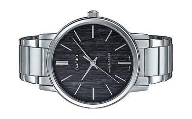 Casio Men Analog Wood Grain Dial Watch MTP-E145D-1