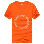 Summer Round Neck Short Sleeved T-Shirt (Orange)