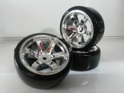 R/C Car 1;10 Drift Tyre w/rim offset 6mm Silver []