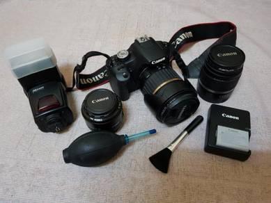Canon EOS 500D with 3 Lens, Nissin Flash, Spare Ba