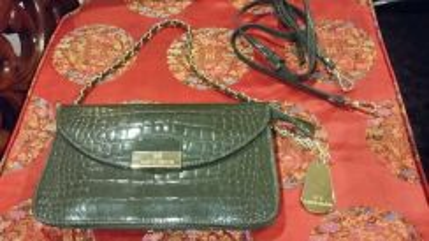 Valentino creations green olive clutch handbag SLG