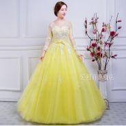 Yellow long sleeve wedding prom dress gown RBMWD01