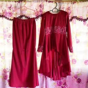 Baju Tunang Hot Pink & Veil Dusty Pink