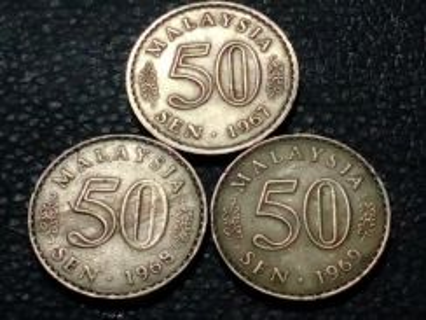 1967,1968,1969 MALAYSIA 50sen (VF) set#D