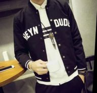 374 Man Black Varsity Slim Baseball Jacket Sweater