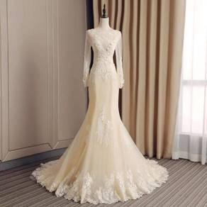 Cream long sleeve wedding dress gown RB0952