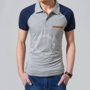 Cool High-Neck Short Sleeve Polo T Shirt (Grey)