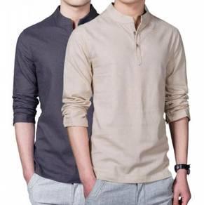 Collar Cotton Linen Long-Sleeved Bottoming Shirt