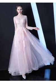 Pink grey blue long sleeve wedding dress RBP0767