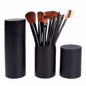 OS 12PCS Soft Make Up Brush With Round Bucket Case