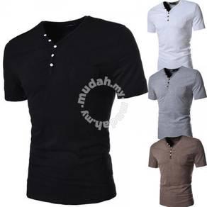 Trendy Button V-Neck Short Sleeve Slim Fit T-Shirt