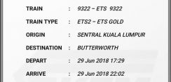 ETS KL to Butterworth Friday, 29 June  5.29PM