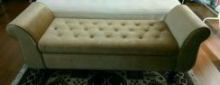 Gold Tufted Upholsetered Bench Chair