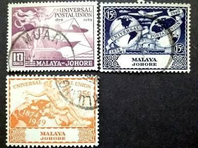 Malaya 1949 Johore Universal Postal Union Used