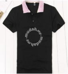 Men Plain Color Polo Short Sleeve T Shirt (Black)
