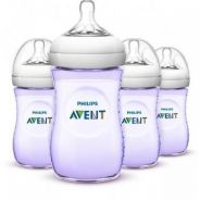 4 x Philips Avent Natural Bottle 9oz (Purple)