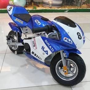 Pocket bike blue minibike 49Cc for kids.,;]>,