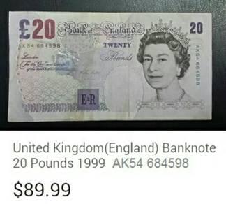 Duit kertas British 20 pounds prefix AK54 684598