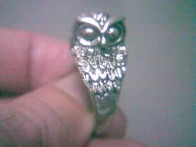 ABRSM-O005 Owl Face Body Silver Metal Ring Size 11