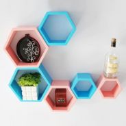 IDFSH007 3PCS Hexagon Wall Shelf