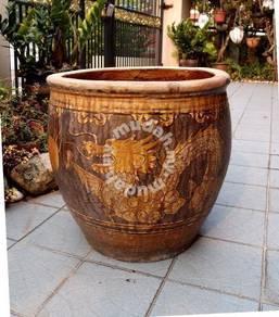 Antique Big Chinese Dragon Ceramic Pot